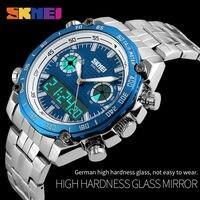 Sport Uhren Männer Mode 30 Mt Wasserdichte LED Elektronische Luxus Uhr Schock Edelstahl Dual Display Armbanduhren Herren SKMEI