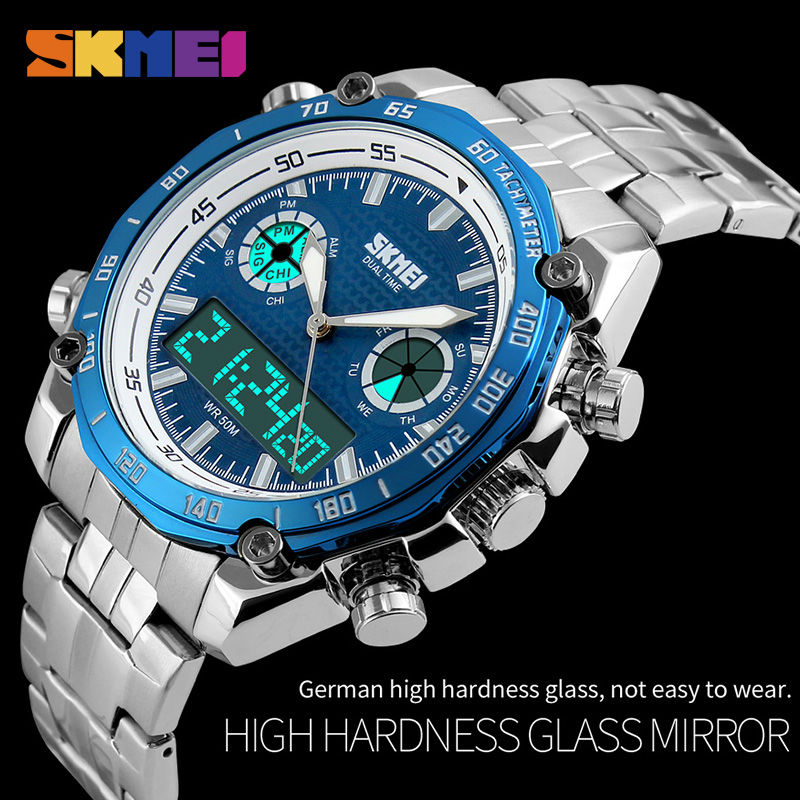 Sports Watches Men Fashion 30M Waterproof LED Electronic Luxury Watch Shock Stainless Steel Dual Display Wristwatches Mens SKMEI