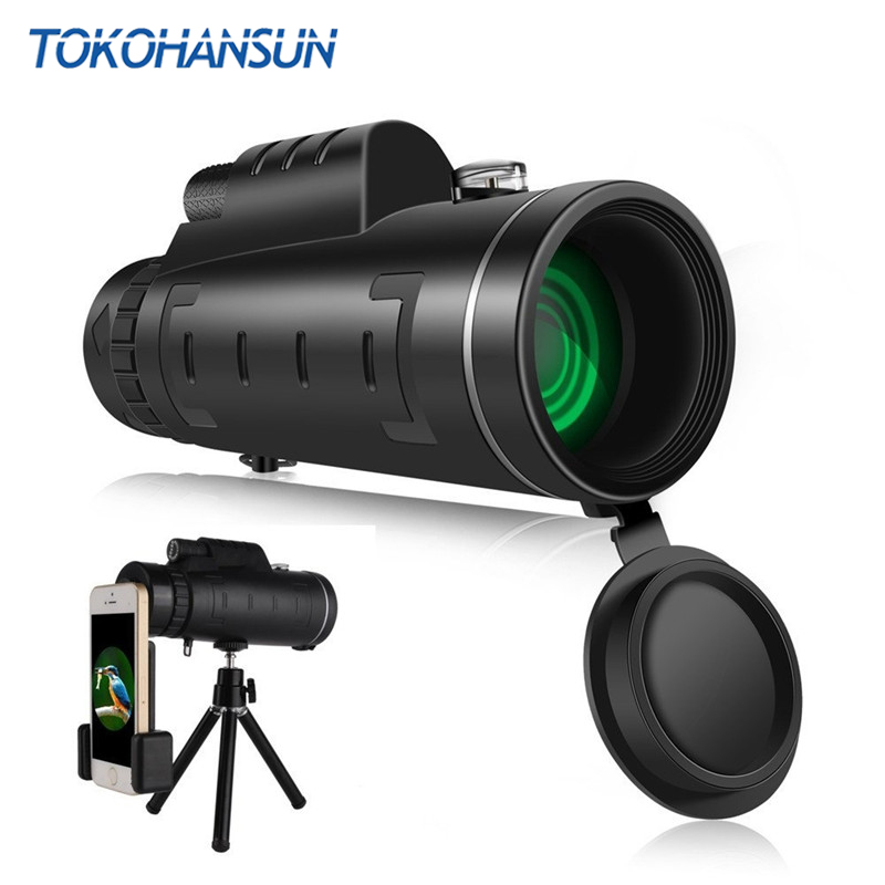 TOKOHANSUN Hot 40x60 Zoom Monocular Telescope For Mobile Phone Camera Lens Camping Hiking Fishing With Compass Phone Clip