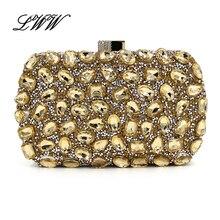 Mode Diamanten Mini Schminktäschchen Damen Abend-handtaschen Gold Kupplungen Frauen Schultertasche mit Kette für Vier Farben