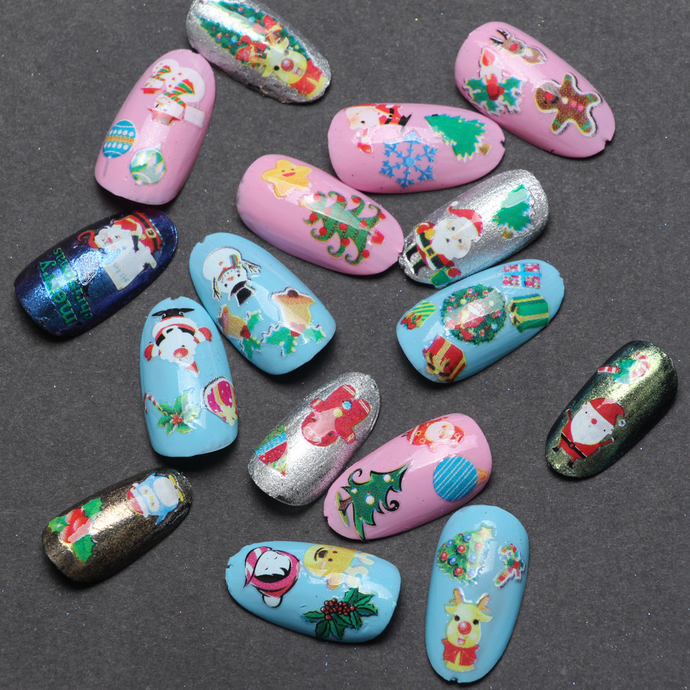 3 pcs air decal nail stiker natal natal kartun desain nail sticker