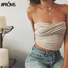 Aproms Ruched Elastic TUBE Cool Girls Slim Fit Bar Crop Top Female Streetwear Camis 2018 Summer Solid Casual Tank Tops for Women