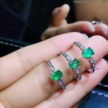 925 sterling silver real Natural green Emerald Rings fine Jewelry gift women wedding open wholesale new 4*6mm jcj0406888agml цена в Москве и Питере