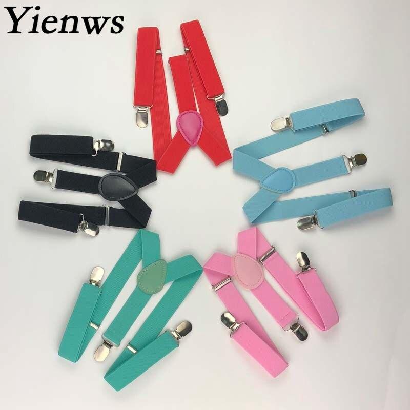 Yienws Bretels Kids Suspenders 3 Clip Pants Braces For Children Bow Tie Suspenders Baby Butterfly Braces Boys Girls YiA094