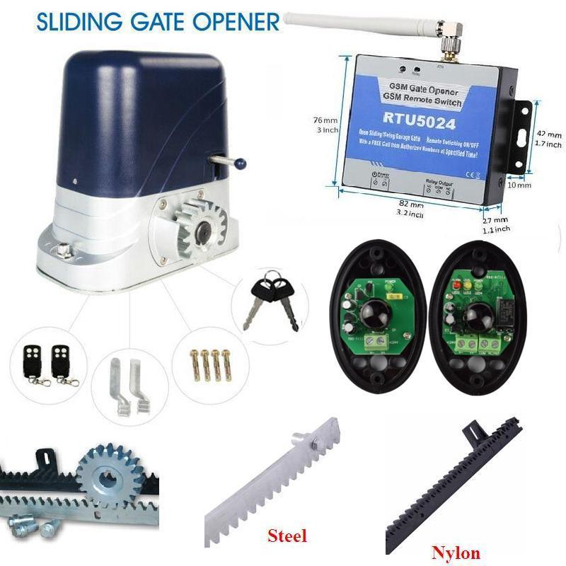 800kgs Electric Gate Motor 2 remote control sliding gate opener 3m racks 1 photocell 1GSM