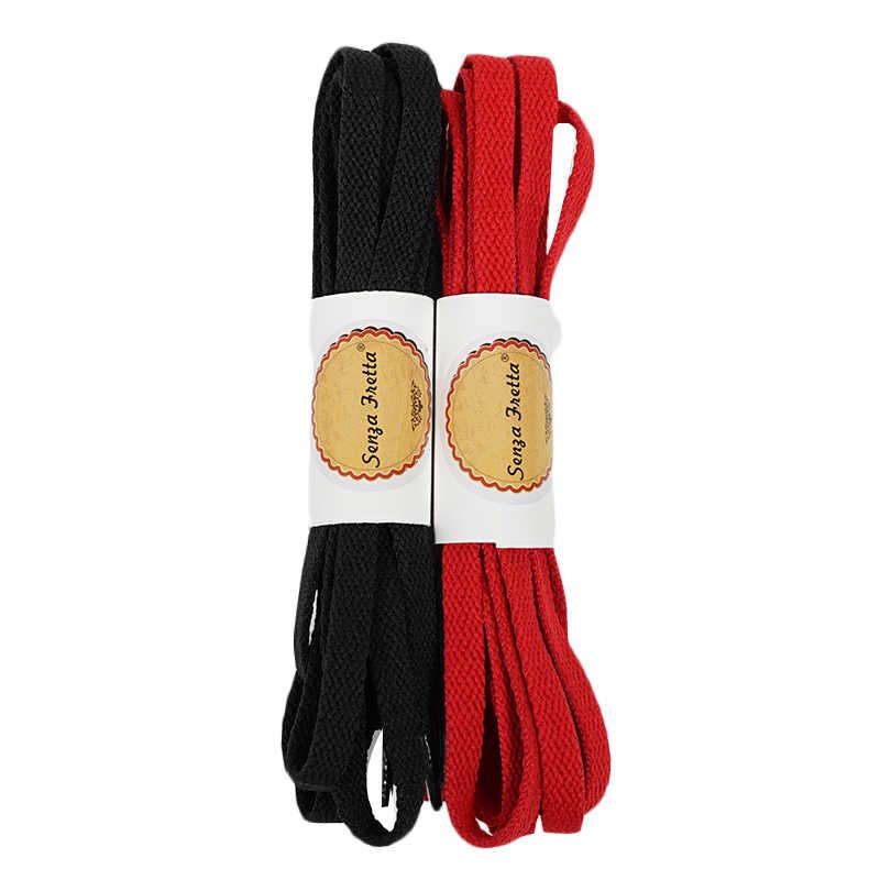 Senza Fretta 130 cm แบนโพลีเอสเตอร์รองเท้า Laces สตริงสำหรับรองเท้าผ้าใบผ้าใบผู้หญิงผู้ชายรองเท้า Laces - สีดำสีขาวสีแดงเชือกผูกรองเท้า