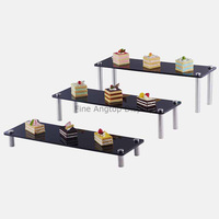 Set of 3 Black Useful Acrylic Riser Jewelry Display Shelf POP Figures Holder Cupcake Dessert Stand