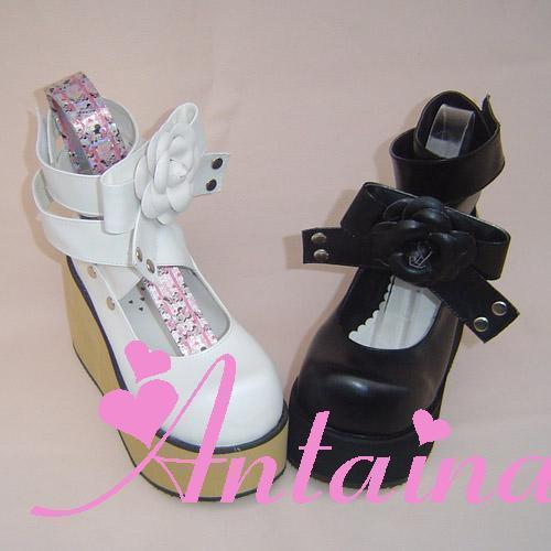 Princess sweet lolita gothic lolita shoes custom lolita flat platform movable flower bankle band 9244 wood heel color can choose princess sweet lolita gothic lolita shoes custom harajuku platform zipper style 9826 black