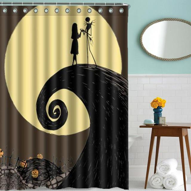 150mm180mm nightmare before christmas jack polyester waterproof bath shower curtain with 12 hooks bathroom - Nightmare Before Christmas Bathroom