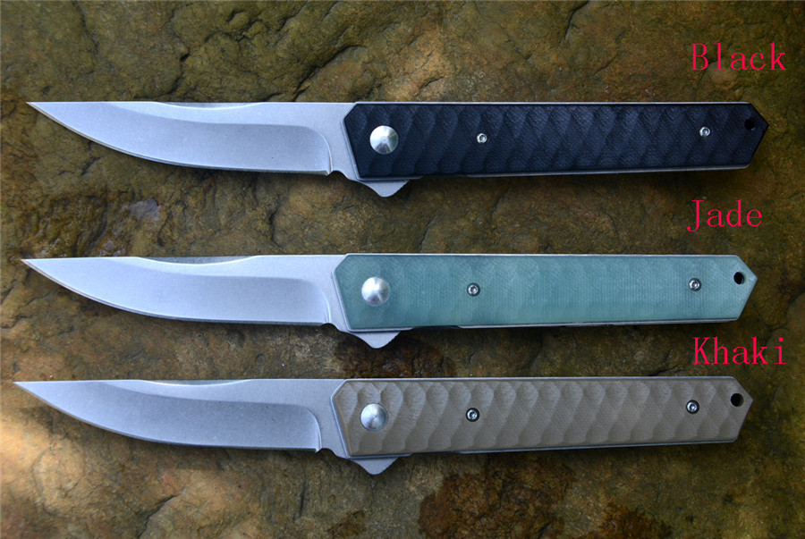 3 Colors BK Plus Kwaiken Cutting Pocket Knife Flipper EDC Hunting Knife 3.5 8Cr13MoV Stonewash Fold Blade G10 Handle