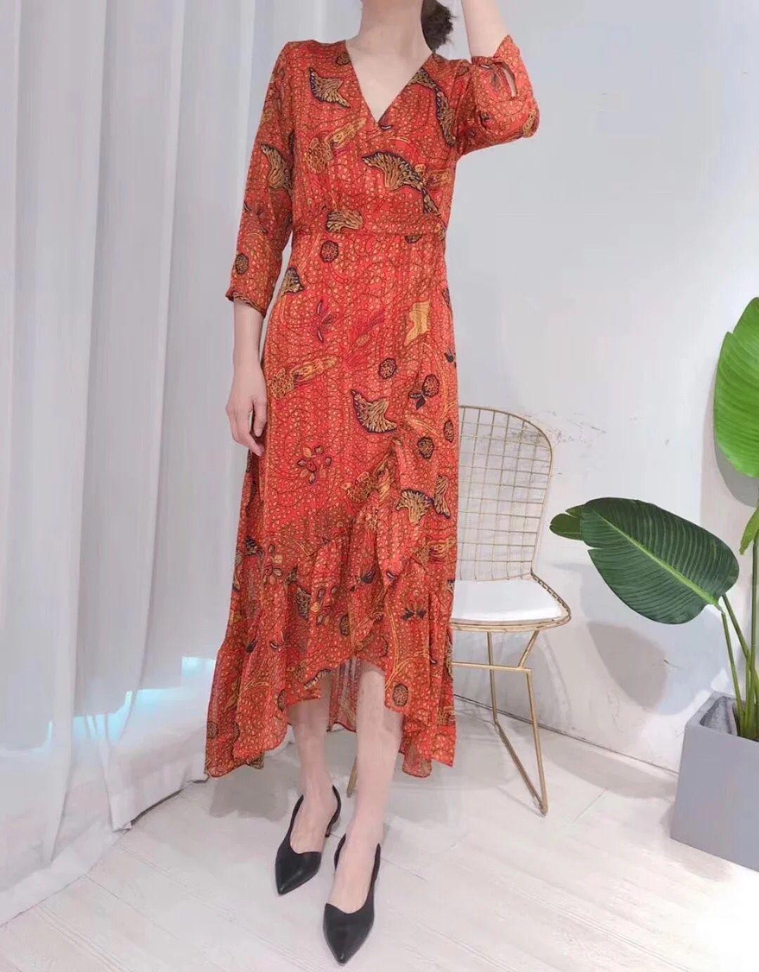 Women Dress 2019 Wrapped V neck Midi Dress