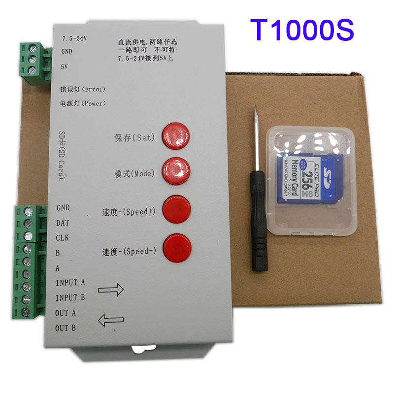 купить New T1000S Controller DC5~24V for WS2801 WS2811 WS2812B LPD6803 2048 Pixels led strip lamp full color RGB play video SPI онлайн