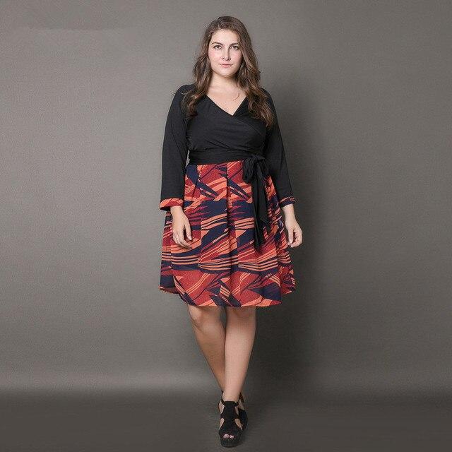 XL-4XL 5XL women dress plus size 6l long Women Autumn V-neck 3 4 Sleeve  Patchwork Maxi Long Dresses Plus Size XXXXL XXXXXL 2fcde3d3d