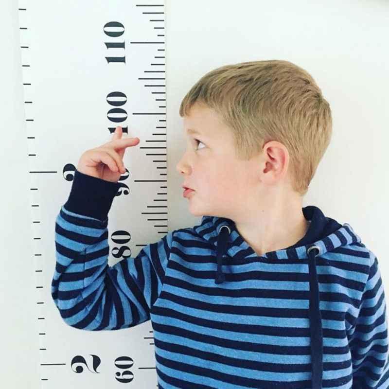 Tabla de crecimiento de altura para colgar en casa regla marco de madera tela de lona regla de medición de altura para niños registro creciente