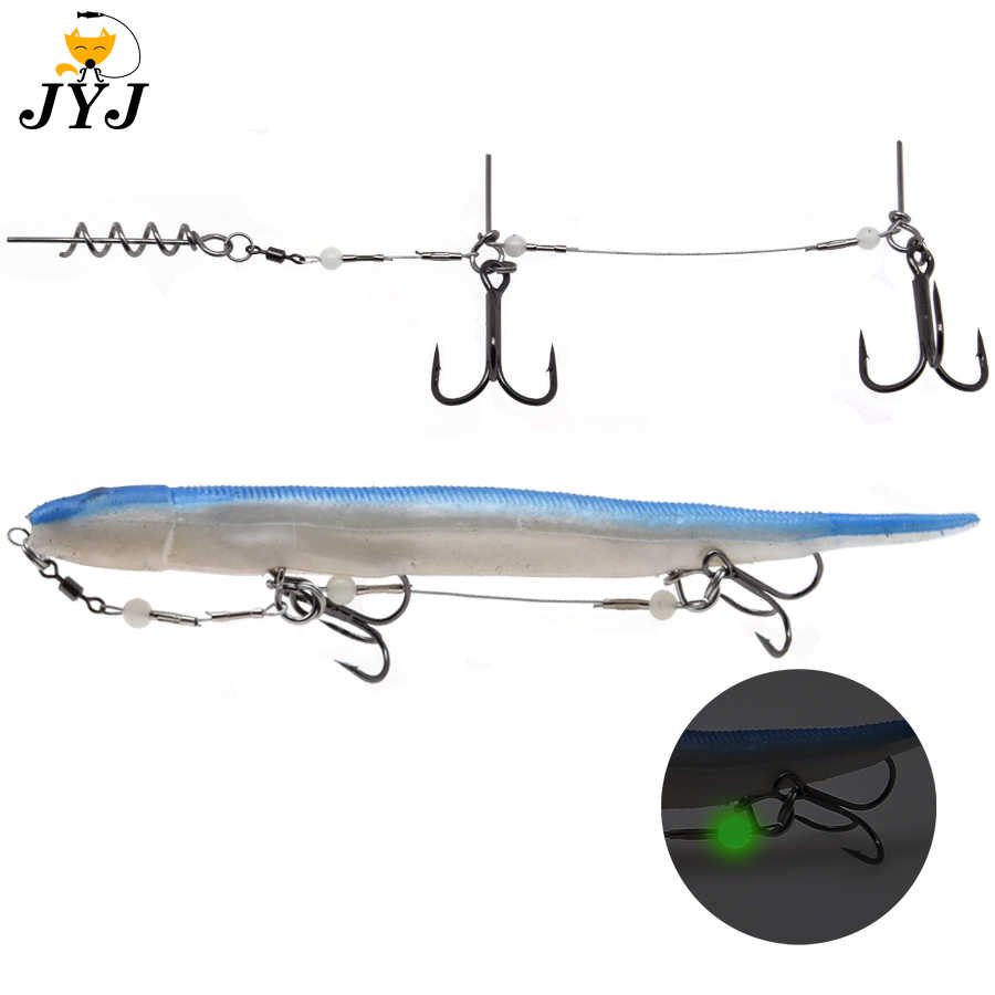 1pc Double Fishing Hooks Luminous Fishing Tackle Fishhooks With Screw Connector Carp Barbed Hook Ocean For Big Soft Shad