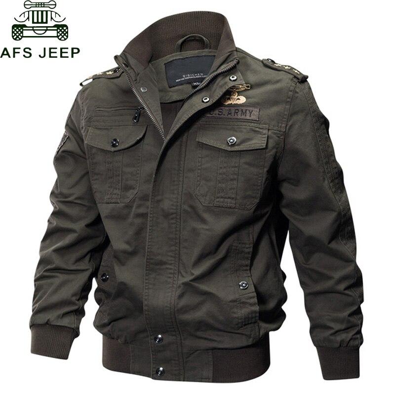 AFS JEEP Militär Jacke Männer Große Größe 6XL Bomber Jacke Männer Herbst Winter Outwear Beiläufige Baumwolle Flug Jacke Jaqueta masculina