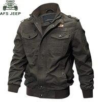 AFS JEEP Military Jacket Men Big Size 6XL Bomber Jacket Men Autumn Winter Outwear Casual Cotton Flight Jacket Jaqueta masculina