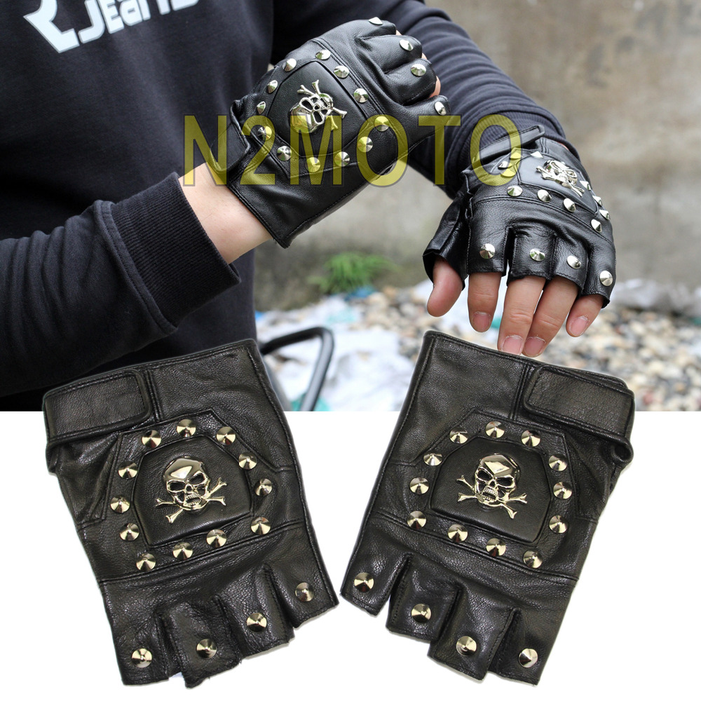 Leather motorcycle skeleton gloves - Motorcycle Skull Gloves