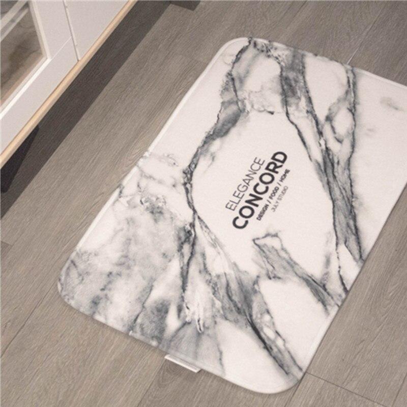 Marbre Grain tapis de sol paillasson drôle absorption d'eau flanelle porte tapis couverture douce cuisine porte tapis pour salle de bain salon - 4