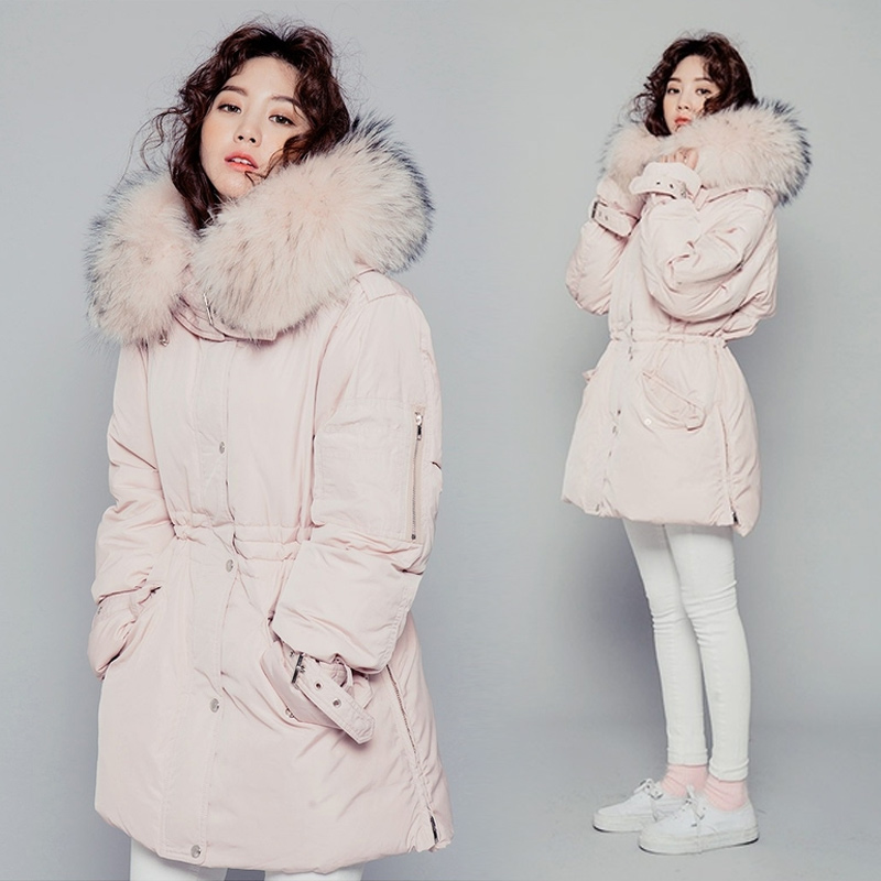 2017 Fashion Women Winter Jacket Mid-Long Coat Parkas Woman Fur Collar Hooded Coat Cloak Cotton Padded Parka Female Overcoat akslxdmmd parkas winter women jacket 2017 new fashion rabbit fur collar hooded thick padded cotton mid long coat female lh1073