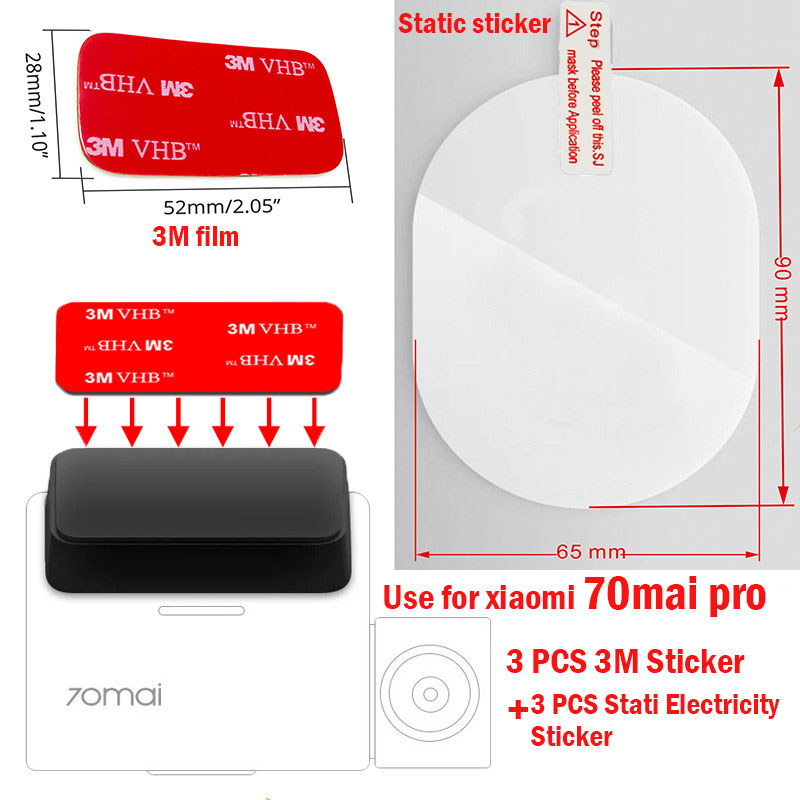 For 70 Mai Pro Dash Cam Smart Car DVR 3M Film And Static Stickers, Suitable For 70 Mai Pro Car DVR 3M Film Holder 3pcs
