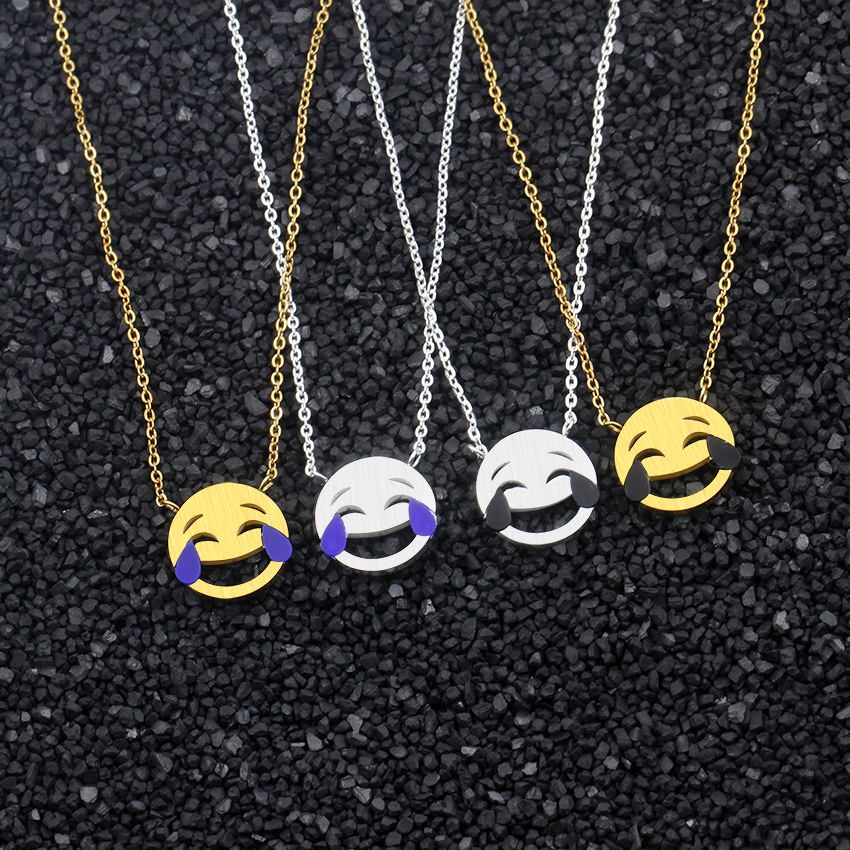 10pcs Cartoon Emoji Smiley Emoticon Necklace Cute Heart Eyes Facial Expression Pendants Necklaces Kids Jewelry Stainless Steel