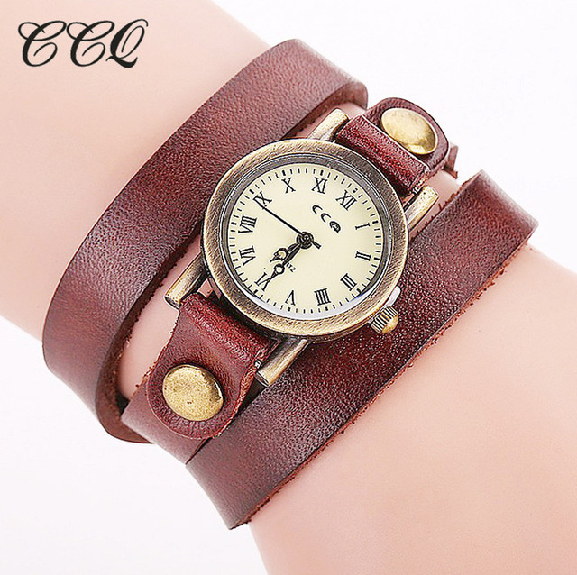 CCQ Brand Fashion Vintage Cow leather Bracelet Watches Casual Women Quartz Watch