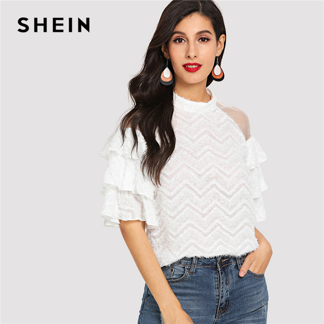 0fca727154fd SHEIN Beige Mesh Insert Layered Sleeve Fluffy Top Preppy Layered Half  Sleeve Cold Shoulder Blouses Women Plain Elegant Tops