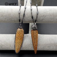 Escala WT-NV151 Atacado micro pave colar de chifre de búfalo de Alta qualidade esculpida em forma de seta colar para mulheres jóias