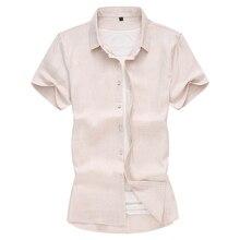 Masculina 新しい夏のメンズシャツ半袖ファッションソリッドリネンコットン男性シャツフォーマルビジネスホワイトカミーサ 7XL