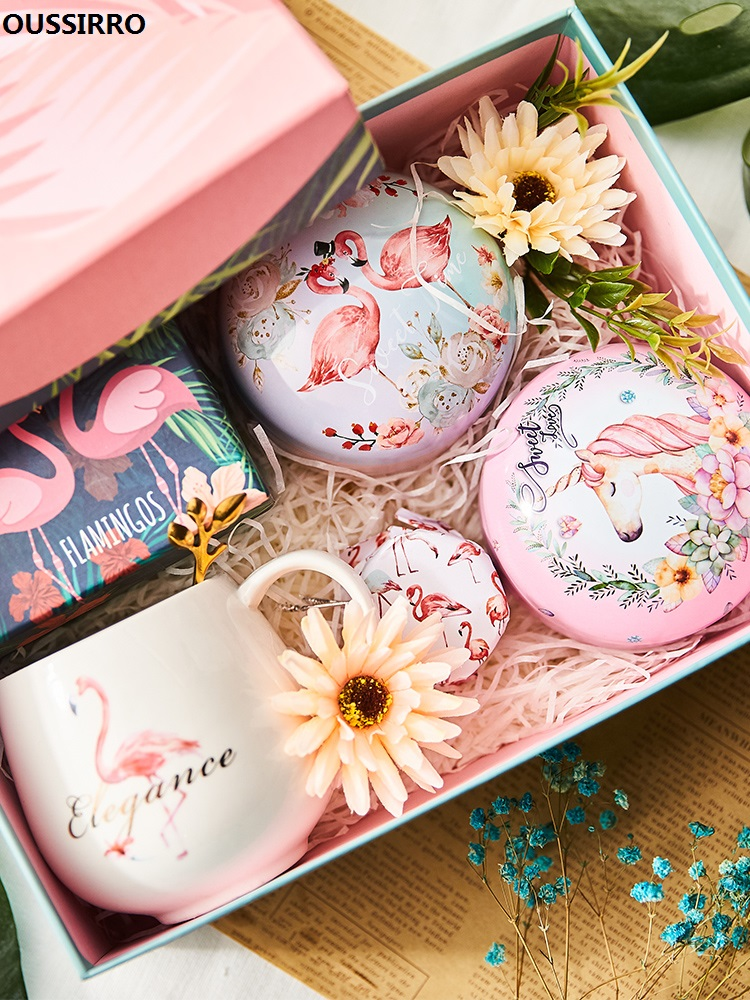 OUSSIRRO cadeau d'anniversaire INS Envoyer Amie Flamant Rose Cadeau Tasse thé à la rose Chrysanthème Thé Roselle thé Paquet Cadeau L2222