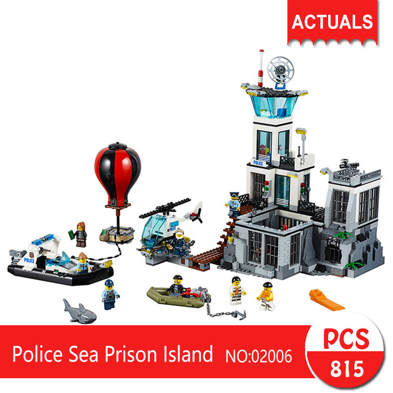 Lepin 02006 815Pcs City series Police Sea Prison Island Model Building Blocks  Bricks Toys For Children Gift 60130 sermoido 02012 774pcs city series deep sea exploration vessel children educational building blocks bricks toys model gift 60095