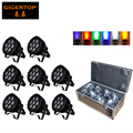 8IN1 Road Case Packing 7*18W RGBWA+UV 6in1 Waterproof Led Par Light Outdoor LED Par Cans DMX LED PAR Light 6/10 Channel No Noise