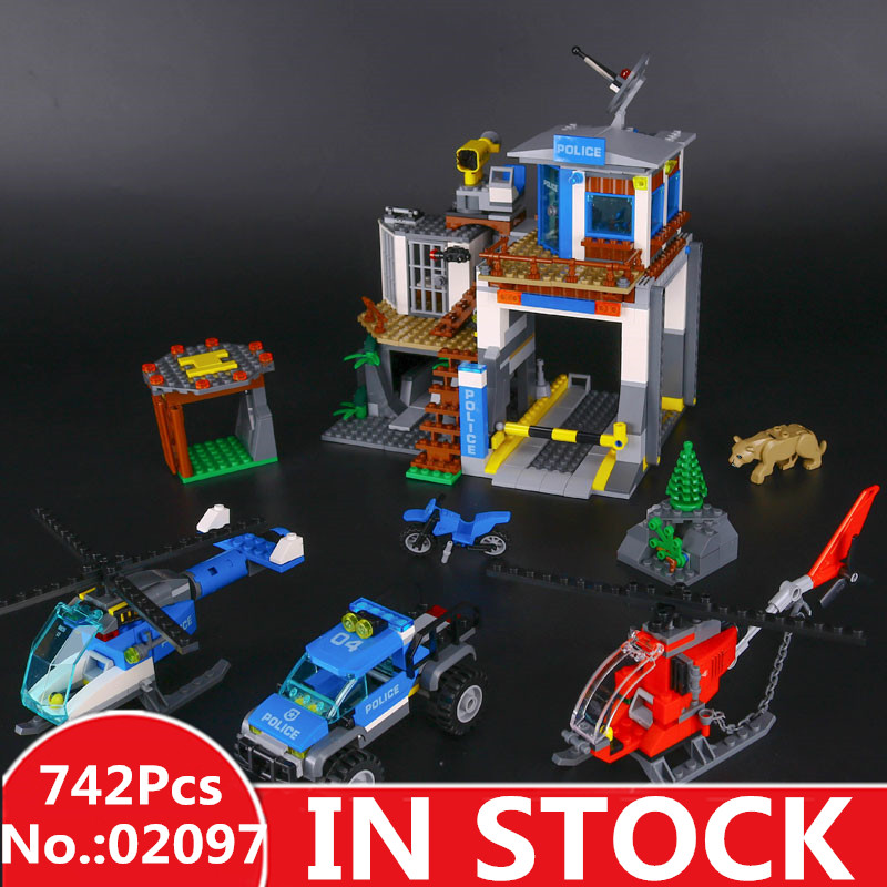 IN STOCK LEPIN 02097 742 Pcs City Series The Mountain Police Headquater Set Building Blocks Bricks Toys Model Kids Gifts 60174 dhl lepin 02038 1767pcs city series the city square education building blocks bricks toys compatible 60097 in stock
