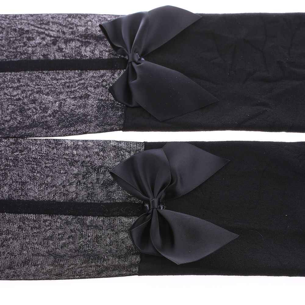ยอดนิยมในญี่ปุ่นเซ็กซี่ผู้หญิง Bow Suspenders Pantyhose ถุงน่องสีดำ Boot กำมะหยี่ผ้าฝ้ายนุ่มกว่าเข่าถุงน่องฤดูร้อน