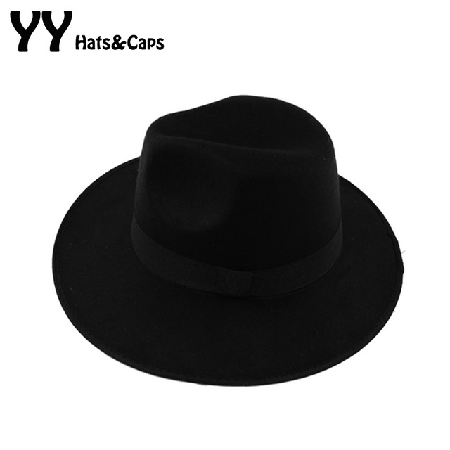 b7d3762a573 New Style Soft Women Vintage Wide Brim Wool Felt Bowler Fedora Hat Floppy  Cloche Women s Large Hat Men Trilby YY0730