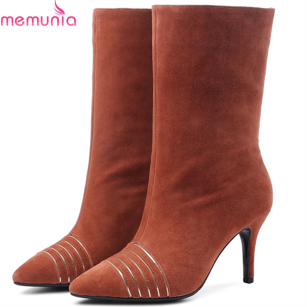 MEMUNIA fashion new arrive women boots pointed toe ladies kid suede boots thin heel leather mid calf boots black camel camel camel boots cowhide thick heel rivet velvet fashion pointed toe boots vintage casual thermal boots