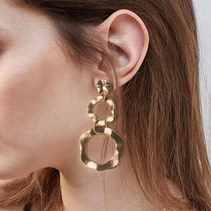 High Quatily Simple Large Gold Silver Earrings Big Long Drop Earrings Irregular Circles Dangle Earring For Women Fashion Jewelry