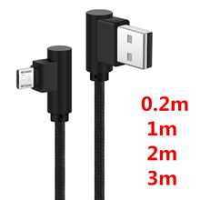 Nylon Braided right angle micro usb 2a Charging For Android micro usb angle cable 90 degree Fast charged For Samsung xiaomi