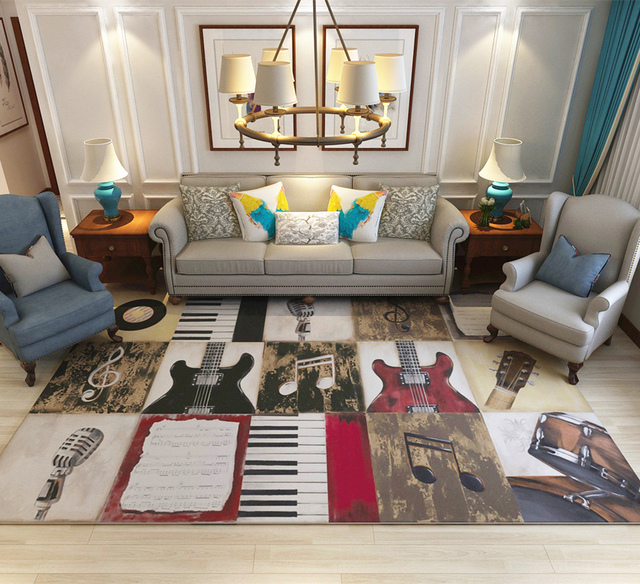 Hotel Dekorasi Karpet Parlor Dicuci Tikar Instrumen Grafik