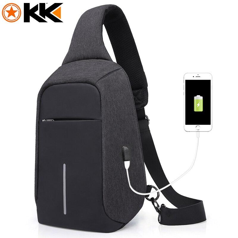 KAKA USB Sling Bag for Men Women Chest Bag Large Capacity Waterproof Summer Short Trip Messengers Crossbody Bags 2017 Hot Sale kaka large capacity chest bag for men