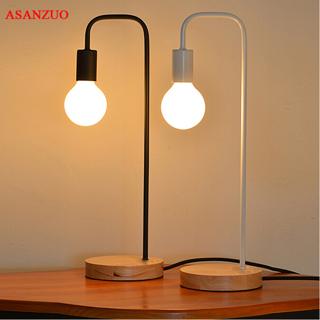 Modern Table Lamp Iron Body And Wood Base Table Lights For Bedroom  Livingroom Children Reading Simple