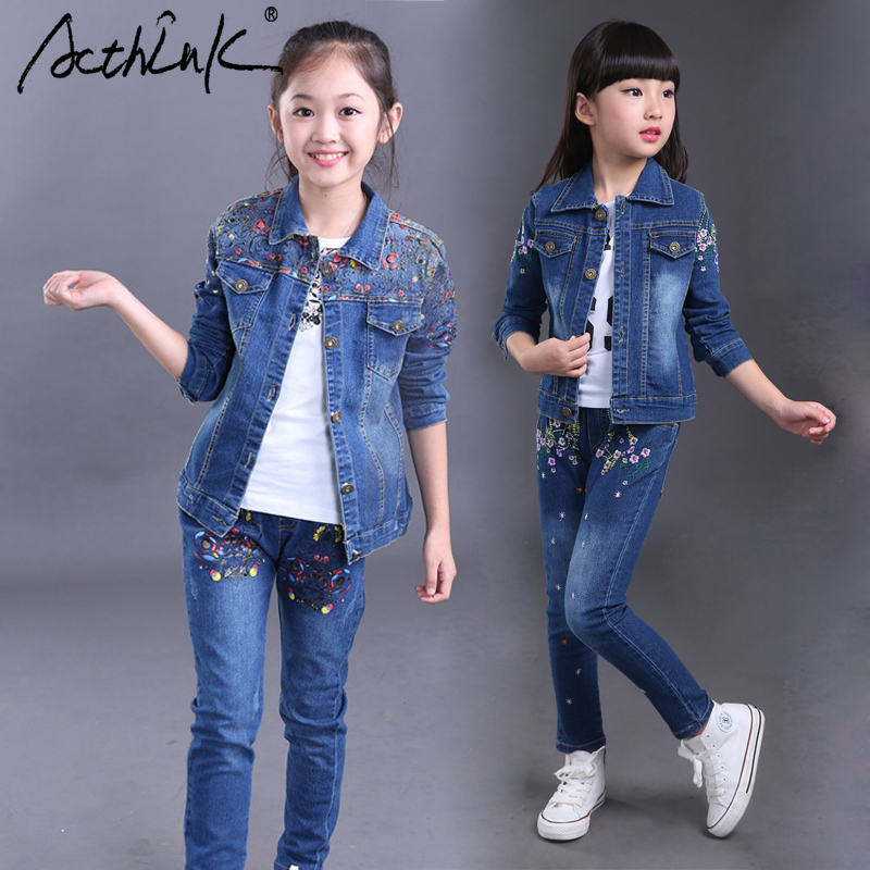 ActhInK New Girls Denim Floral Jacket Jeans Suit Brand Teenage Girls Spring Denim Clothing Set 2 Designs Girls Floral Pants Set new style brand jeans for men jeans straigh regular fit denim jeans pants classic blue colour size 28 to 38