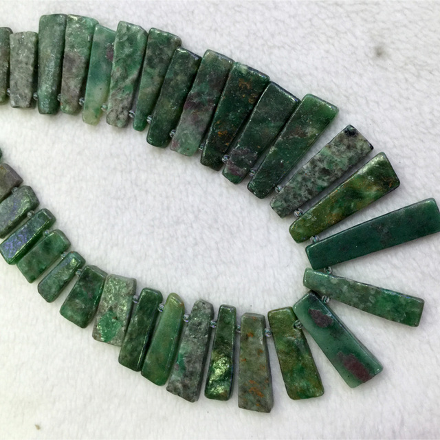 "Natural Genuine Green South Africa Jade Flat Slabs Slices Stick Beads Drill Side Fit Jewelry Necklace Bracelets 15"" 04312"