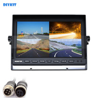 DIYKIT 4CH 4PIN DC12V 24V 10 Inch 4 Split Quad LCD Screen Display Color Rear View Car Monitor for Car Truck Bus Reversing Camera