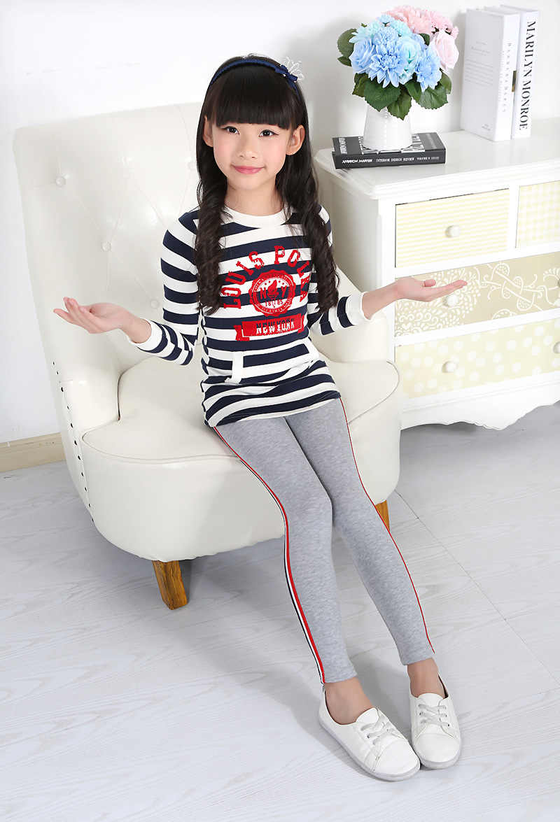 c85c7d2d3322b ... Kids Little Girls Leggings Pants Spring Autumn Children's Clothing  Trousers Side Striped Cotton Sports Yoga Pants ...