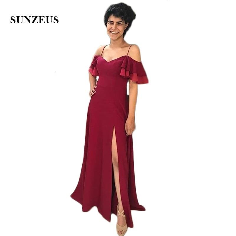 Spaghetti Straps Sheath Junior Bridesmaid Dresses 2018 Sweetheart Ruffles Sleeve Burgundy Wedding Guest Dresses Leg Slit SBD135