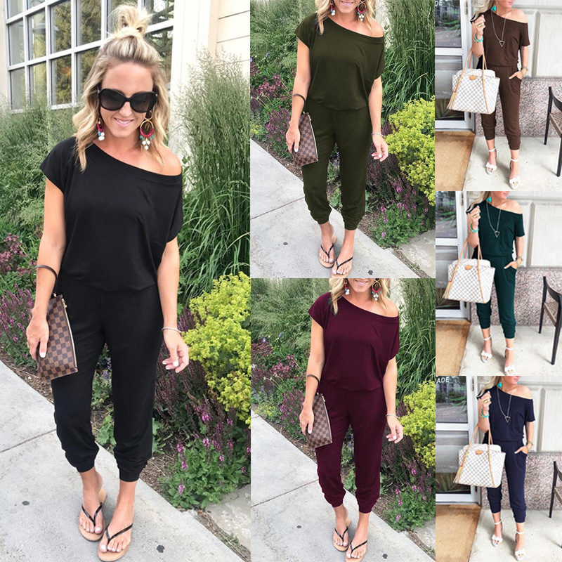 2019 Spring And Summer Fashion Women Slant Shoulder Casual Pocket Jumpsuit Short Sleeve New Solid Bodysuits Women Rompers