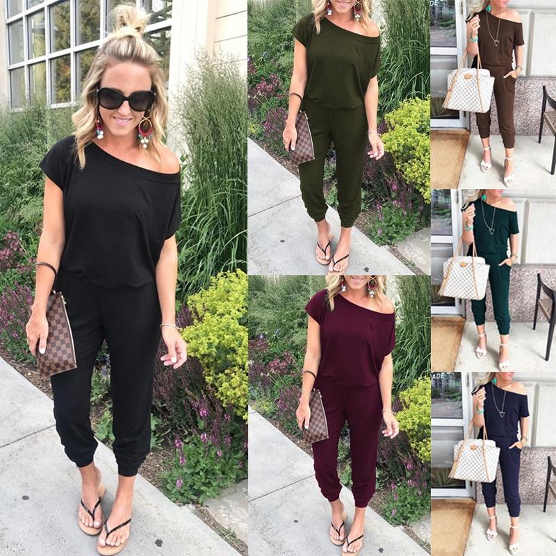2019 Spring And Summer Fashion Women Slant Shoulder Casual Pocket Jumpsuit Short Sleeve New Solid Bodysuits Women   Rompers