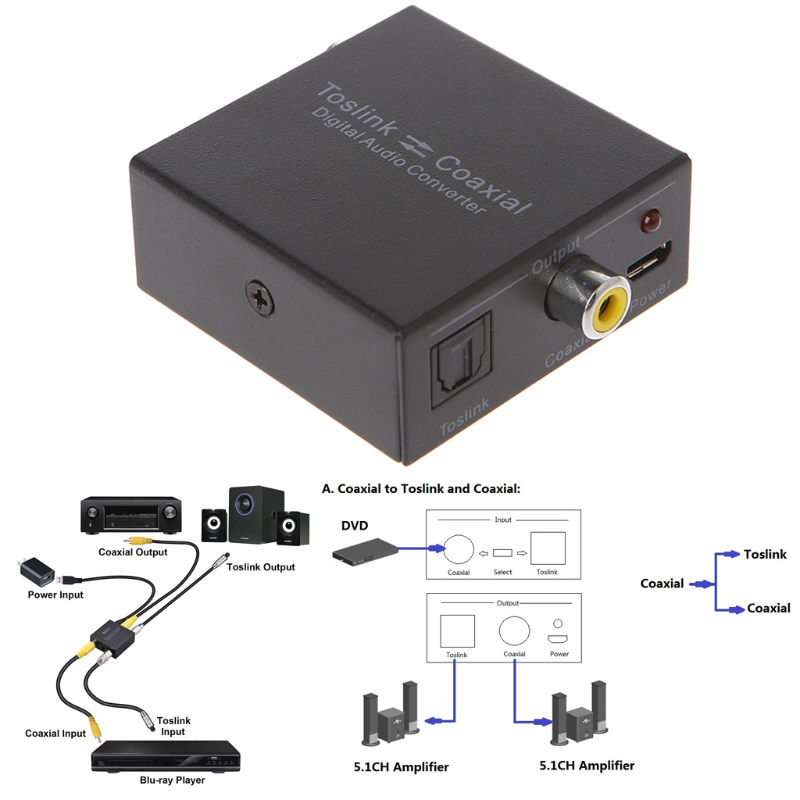 Toslink To Coaxial Bi-Directional Swtich 2-Way Digital Audio Converter Adapter